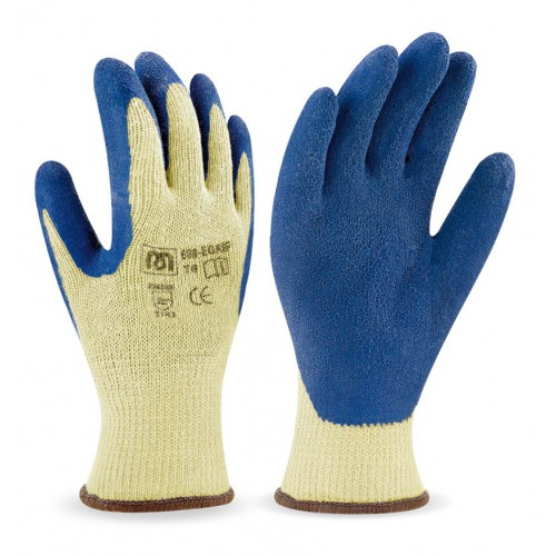 Glove with latex coated palm